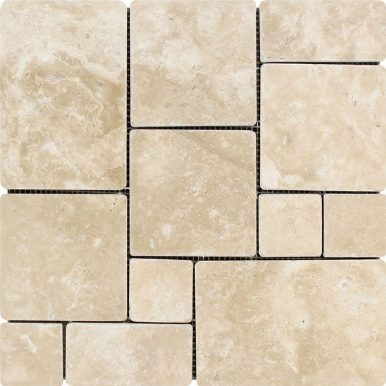Durango Tumbled Travertine Mini Pattern Mosaic Tile (Non-Interlocking) - Tilephile
