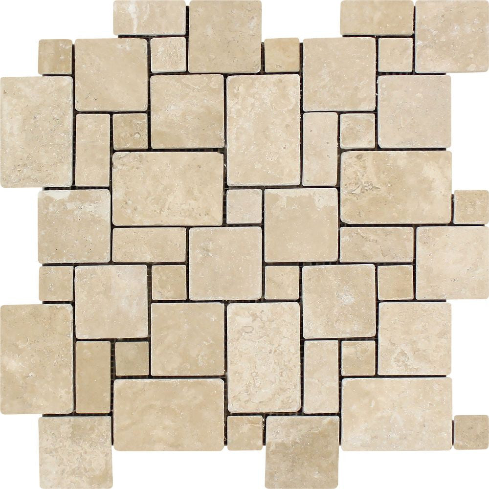 Durango Tumbled Travertine Mini Versailles Pattern Mosaic Tile Sample - Tilephile