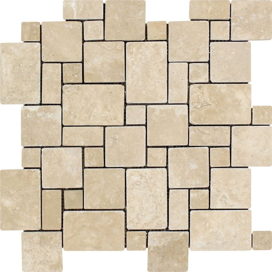 Durango Tumbled Travertine Mini Versailles Pattern Mosaic Tile - Tilephile