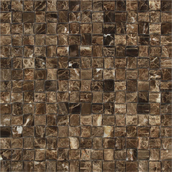 Emperador Dark Polished Marble 3-D Small Bread Mosaic Tile