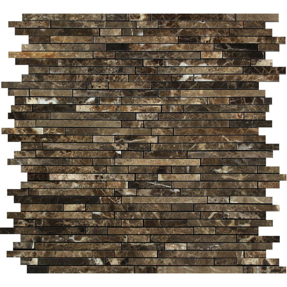 Emperador Dark Polished Marble Bamboo Sticks Mosaic Tile