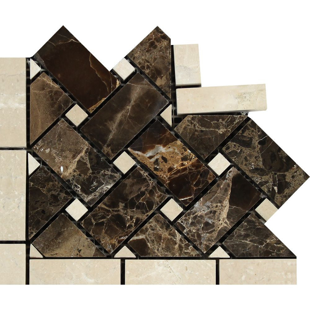 Emperador Dark Polished Marble Basketweave Corner w/ Crema Marfil Dots Sample - Tilephile