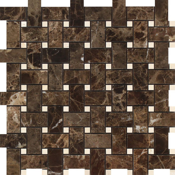 Emperador Dark Polished Marble Basketweave Mosaic Tile w/ C. Marfil Dots