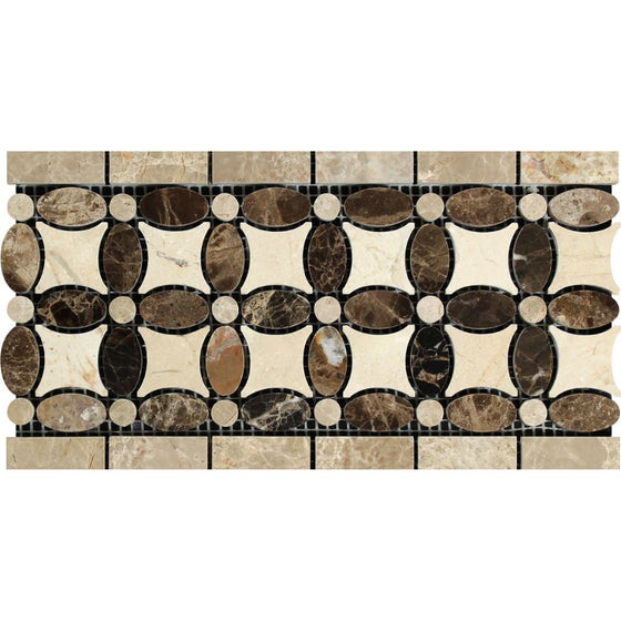 Emperador Dark Polished Marble Florida Flower Border (Emp. Dark + Crema Marfil + Emp. Light)
