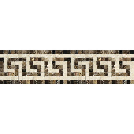 Emperador Dark Polished Marble Greek Key Border (Emp. Dark + Crema Marfil) - Tilephile