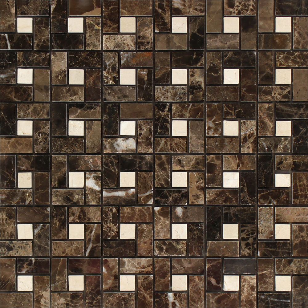 Emperador Dark Polished Marble Mini Pinwheel Mosaic Tile w/ C. Marfil Dots Sample - Tilephile