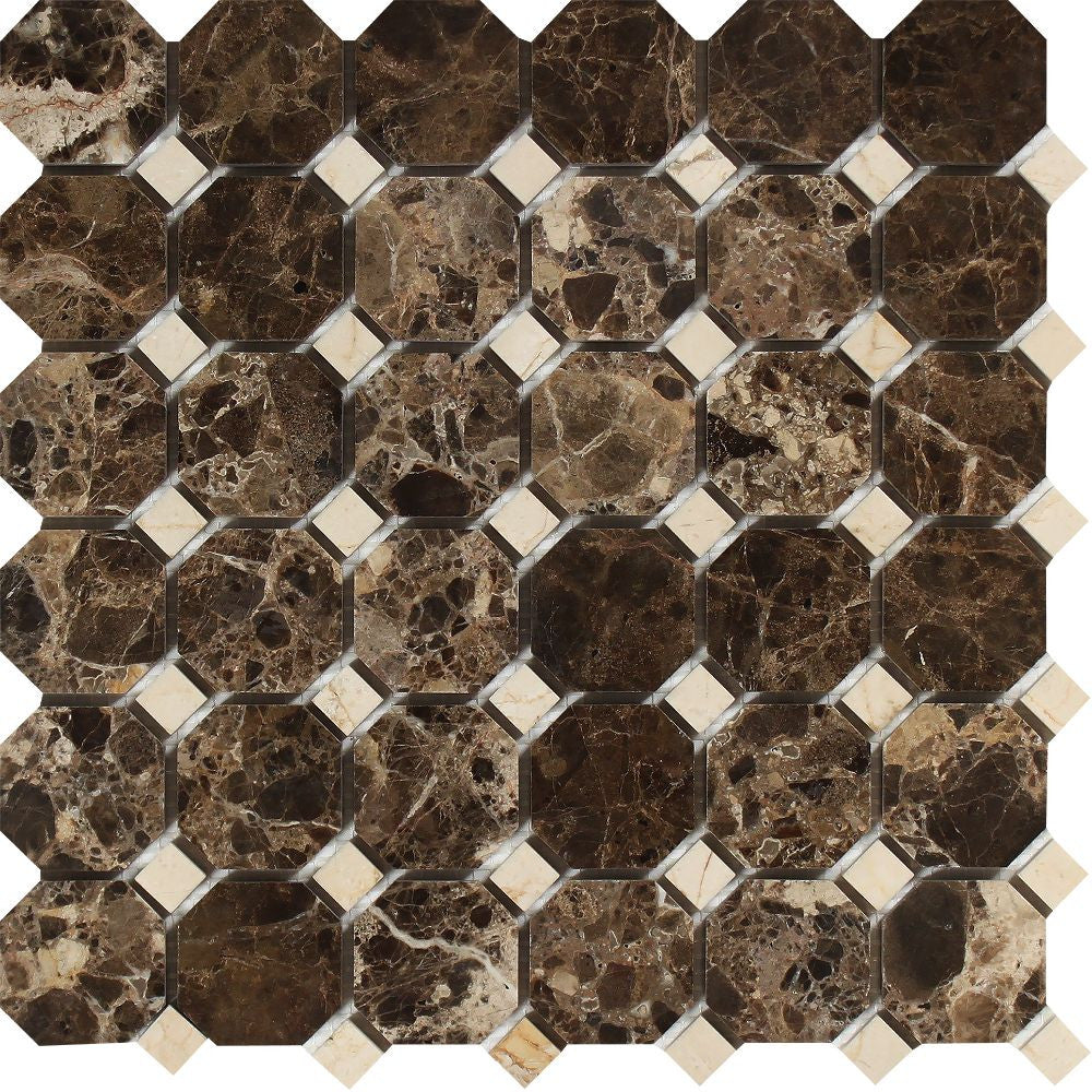 Emperador Dark Polished Marble Octagon Mosaic Tile w/ C. Marfil Dots Sample