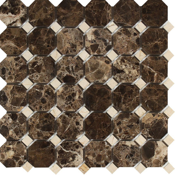 Emperador Dark Polished Marble Octagon Mosaic Tile w/ C. Marfil Dots - Tilephile