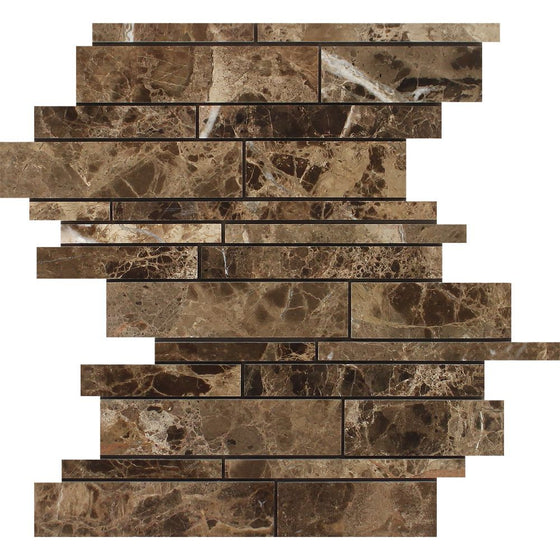 Emperador Dark Polished Marble Random Strip Mosaic Tile - Tilephile