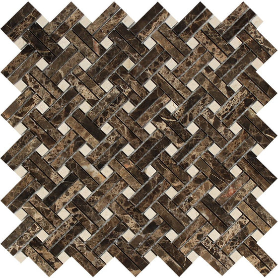 Emperador Dark Polished Marble Stanza Mosaic Tile w/ C. Marfil Dots - Tilephile