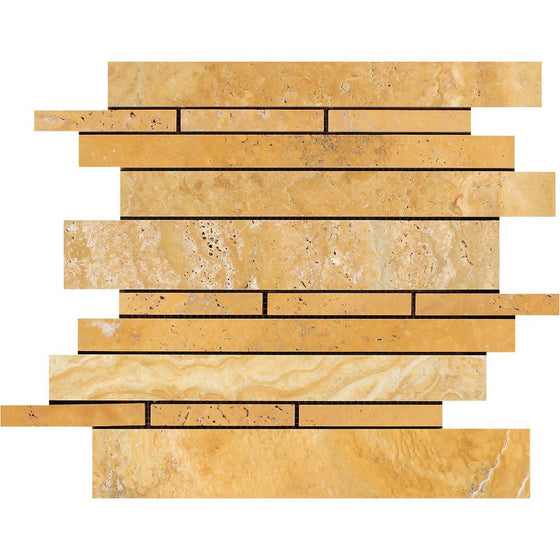 Gold Honed Travertine Random Strip Mosaic Tile - Tilephile