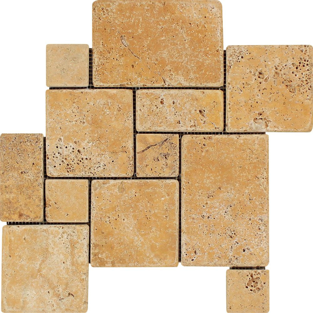 Gold Tumbled Travertine OPUS Mini Pattern Mosaic Tile (Interlocking) Sample