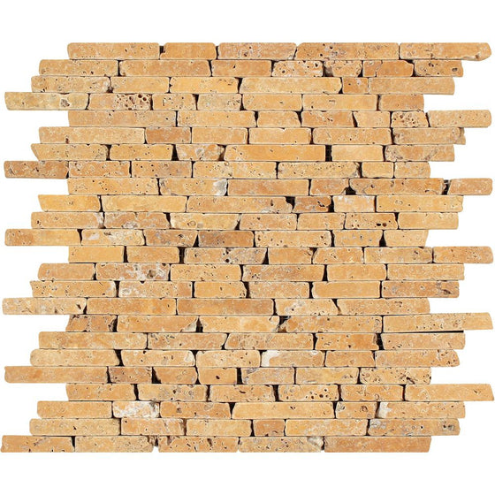 Gold Tumbled Travertine Random Strip Mosaic Tile - Tilephile