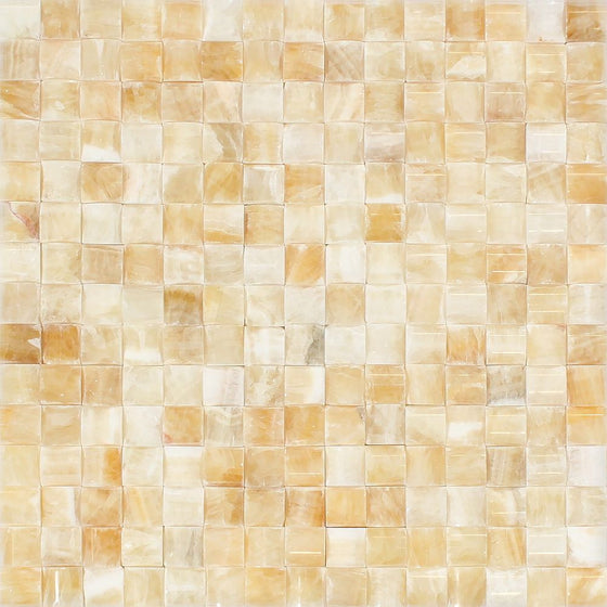 Honey Onyx Polished 3-D Small-Bread Mosaic Tile