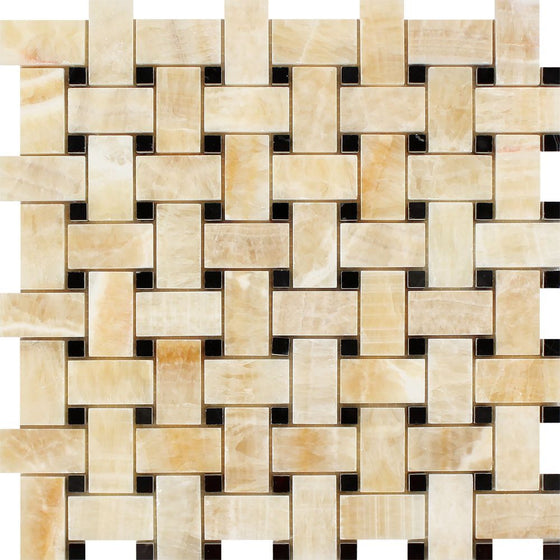 Honey Onyx Polished Basketweave Mosaic Tile w/ Black Dots - Tilephile
