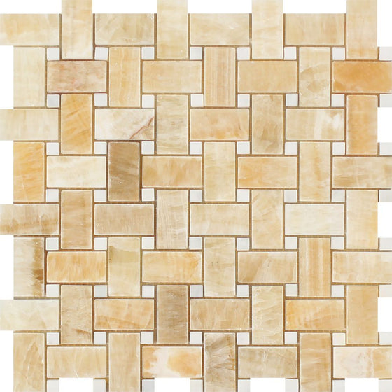 Honey Onyx Polished Basketweave Mosaic Tile w/ White Dots - Tilephile