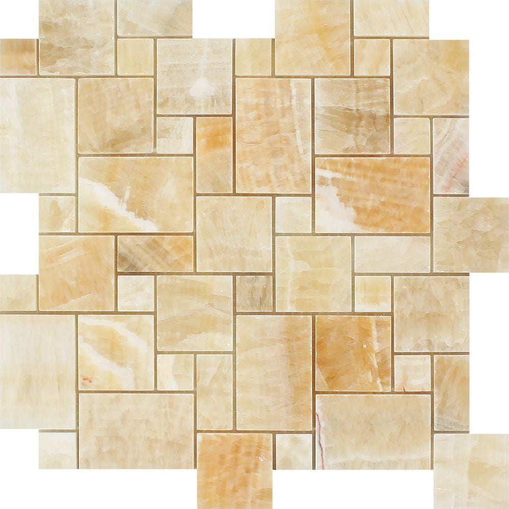 Honey Onyx Polished Mini Versailles Pattern Mosaic Tile Sample