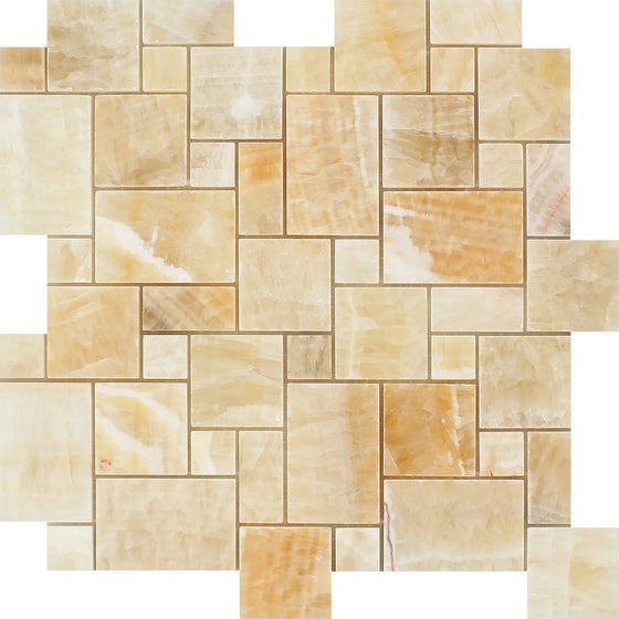 Honey Onyx Polished Mini Versailles Pattern Mosaic Tile - Tilephile