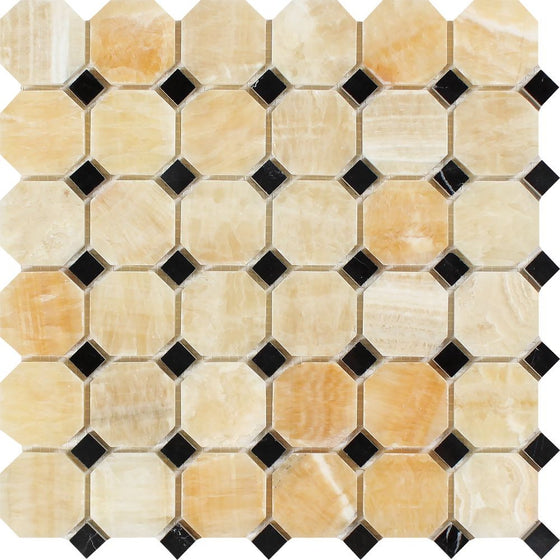 Honey Onyx Polished Octagon Mosaic Tile w/ Black Dots - Tilephile