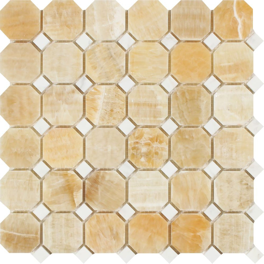 Honey Onyx Polished Octagon Mosaic Tile w/ White Dots Sample - Tilephile