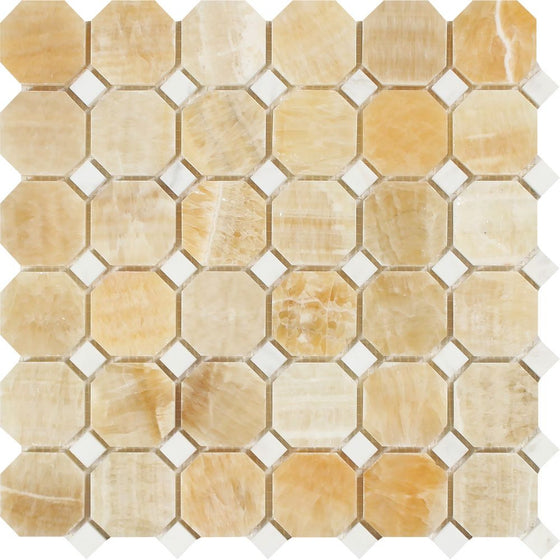Honey Onyx Polished Octagon Mosaic Tile w/ White Dots - Tilephile