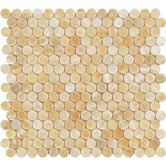 Honey Onyx Polished Penny Round Mosaic Tile - Tilephile