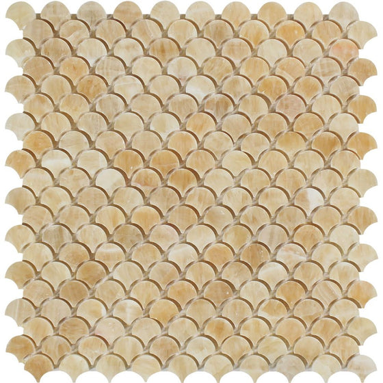 Honey Onyx Polished Raindrop Mosaic Tile - Tilephile