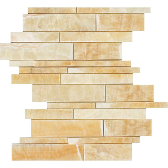 Honey Onyx Polished Random Strip Mosaic Tile - Tilephile