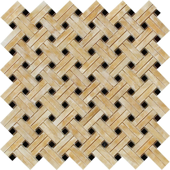 Honey Onyx Polished Stanza Mosaic Tile w/ Black Dots - Tilephile