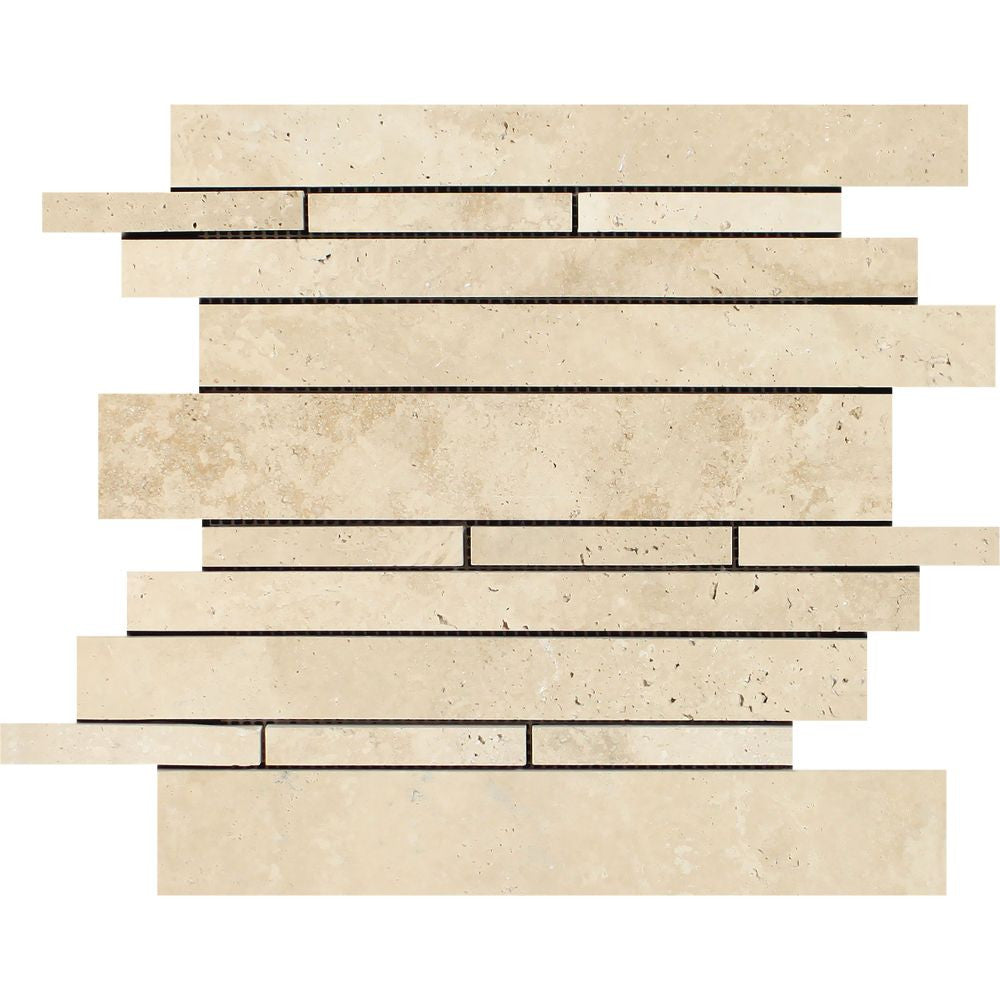 Ivory Honed Travertine Random Strip Mosaic Tile Sample - Tilephile
