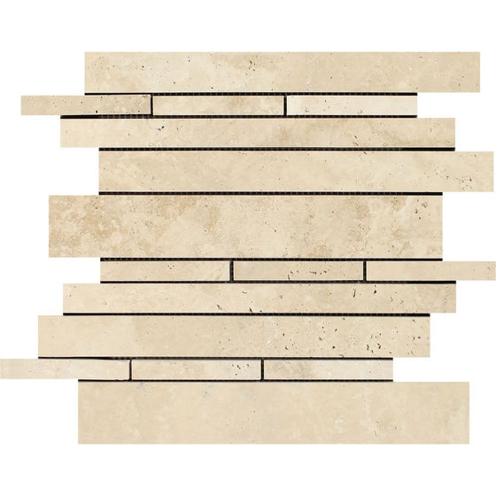 Ivory Honed Travertine Random Strip Mosaic Tile - Tilephile