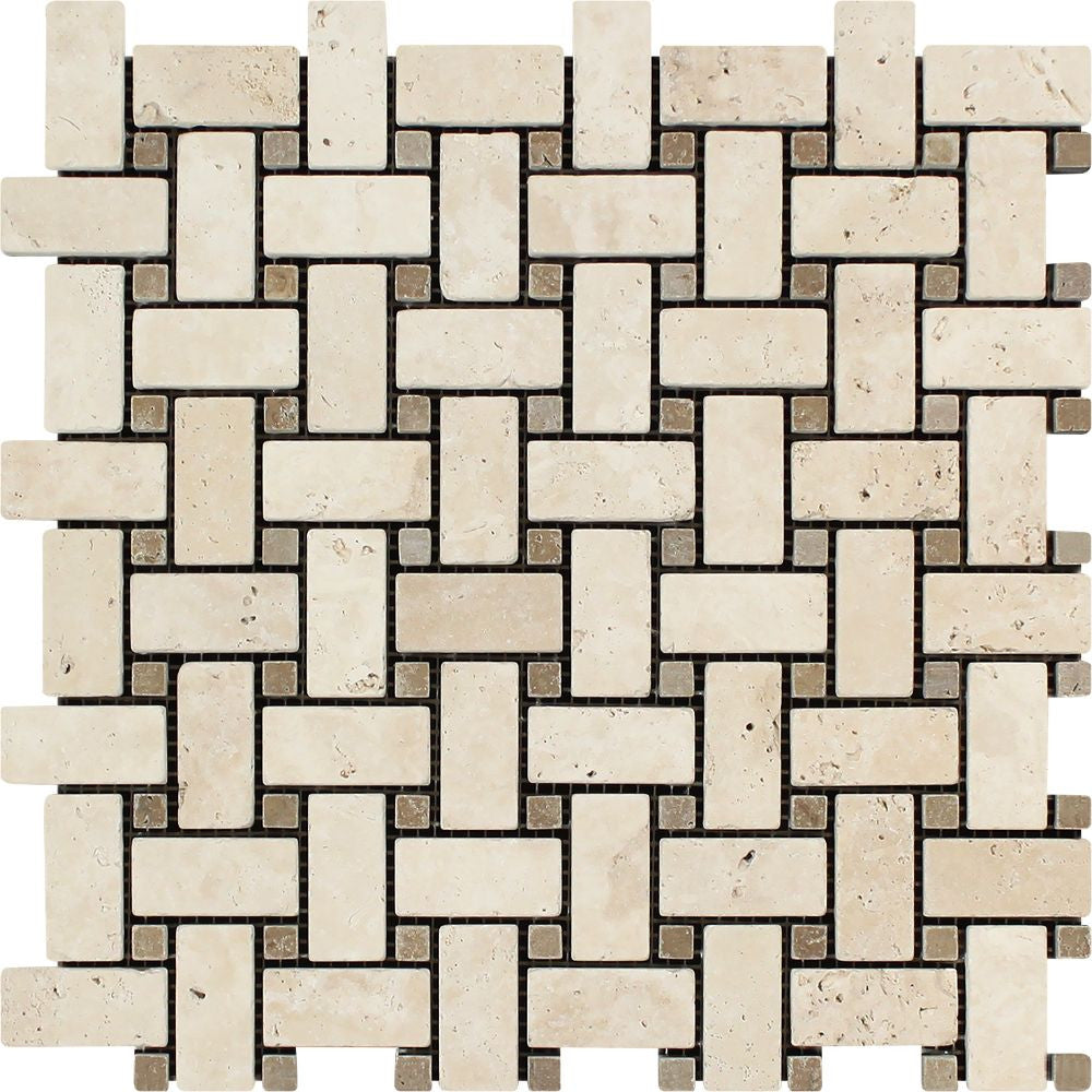 Ivory Tumbled Travertine Basketweave Mosaic Tile w/ Noce Dots Sample