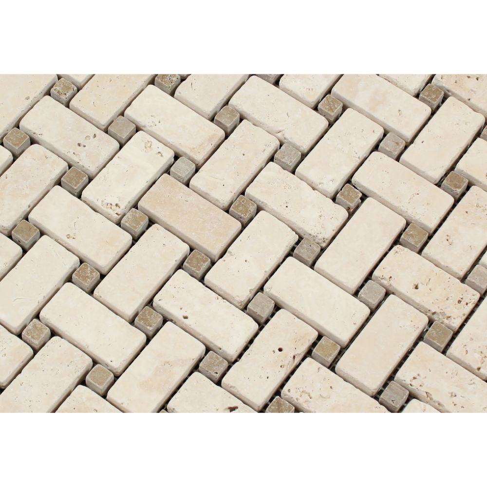 Ivory Tumbled Travertine Basketweave Mosaic Tile w/ Noce Dots - Tilephile
