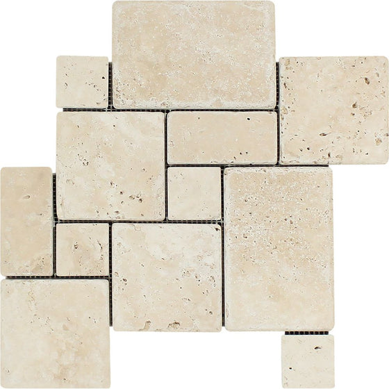 Ivory Tumbled Travertine OPUS Mini Pattern Mosaic Tile (Interlocking) - Tilephile
