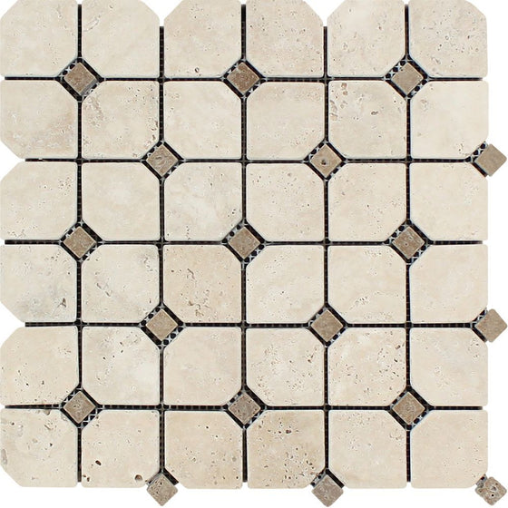 Ivory Tumbled Travertine Octagon Mosaic Tile w/ Noce Dots - Tilephile