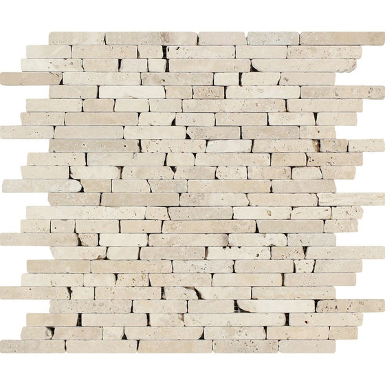 Ivory Tumbled Travertine Random Strip Mosaic Tile - Tilephile