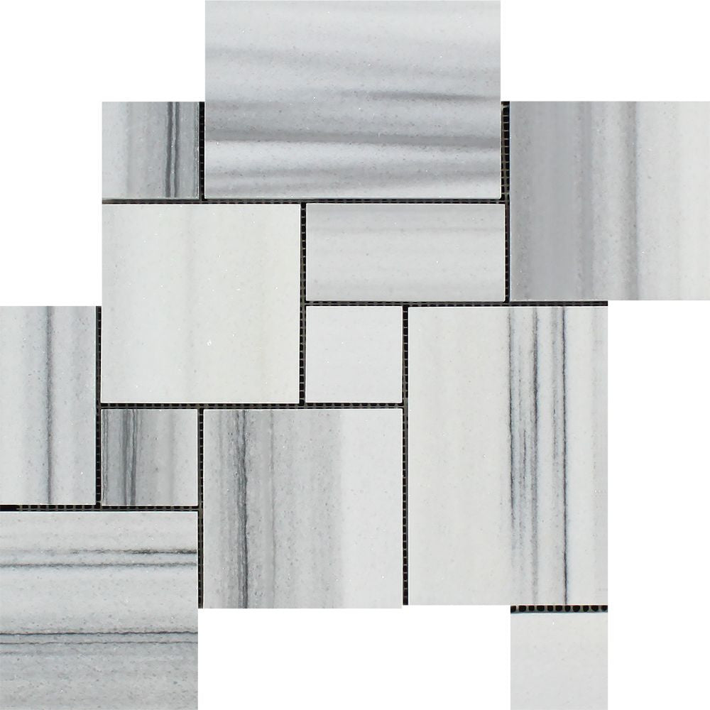 Mink (Marmara) Marble  Polished OPUS Mini-Pattern Mosaic Tile (Interlocking) Sample - Tilephile