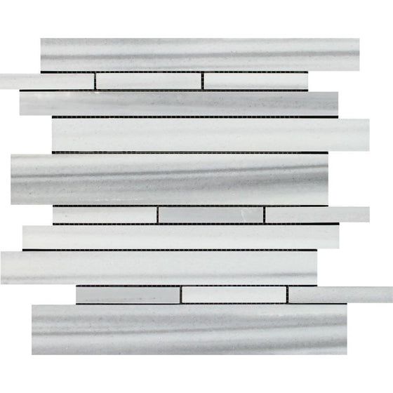 Mink (Marmara) Marble Polished Random Strip Mosaic Tile - Tilephile