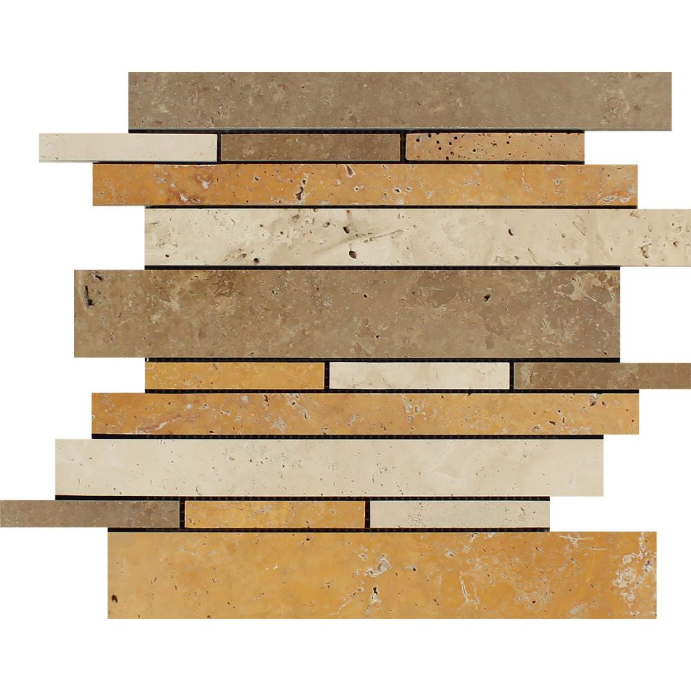 Mixed Travertine Honed Random Strip Mosaic Tile (Ivory + Noce + Gold) Sample - Tilephile