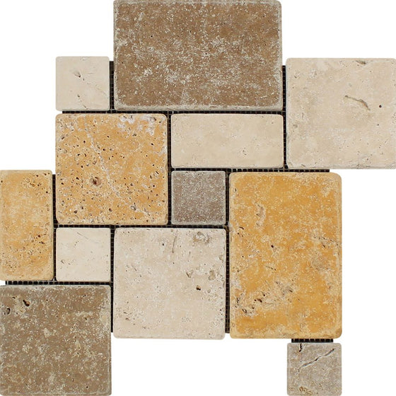 Mixed  Travertine Tumbled OPUS Mini Pattern Mosaic Tile (Interlocking) (Ivory + Noce + Gold)