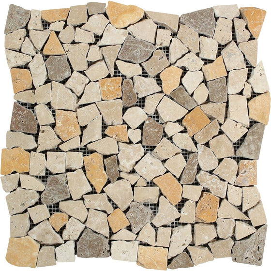 Mixed Travertine Tumbled Random Broken Mosaic Tile (Ivory + Noce + Gold) - Tilephile