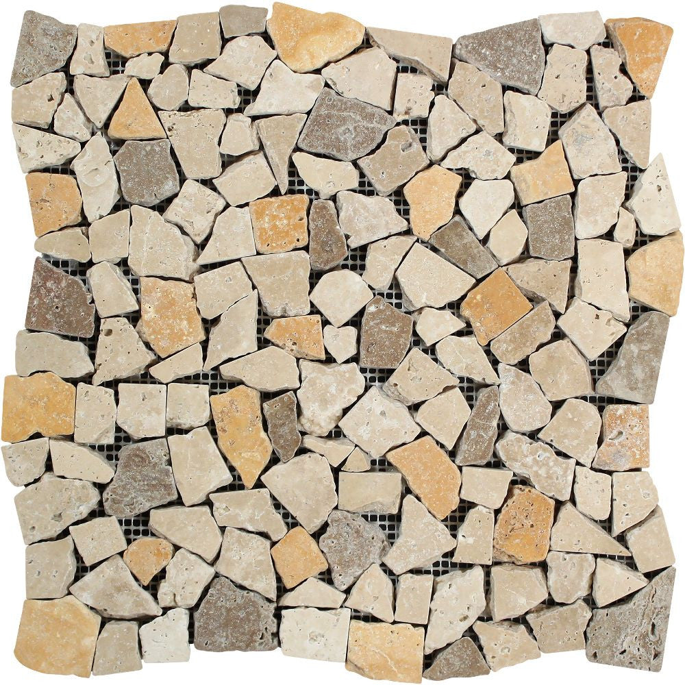 Mixed Travertine Tumbled Random Broken Mosaic Tile (Ivory + Noce + Gold) Sample - Tilephile