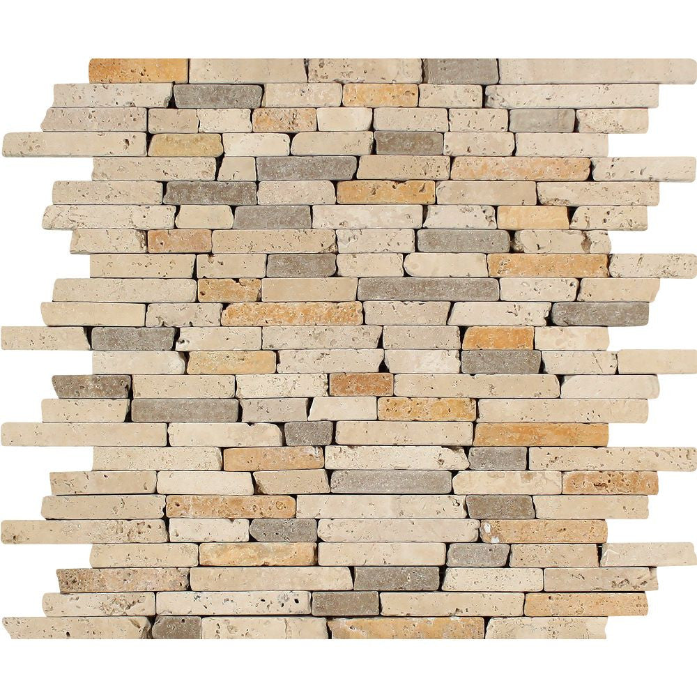 Mixed Travertine Tumbled Random Strip Mosaic Tile (Ivory + Noce + Gold) Sample - Tilephile