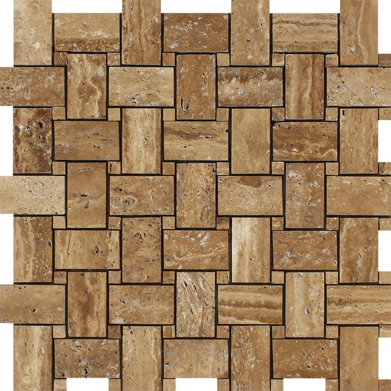 Noce Exotic (Vein-Cut) Unfilled, Brushed Travertine Basketweave Mosaic Tile - Tilephile