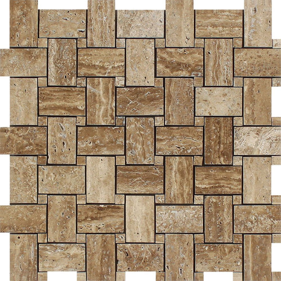 Noce Exotic (Vein-Cut) Unfilled, Polished Travertine Basketweave Mosaic Tile - Tilephile