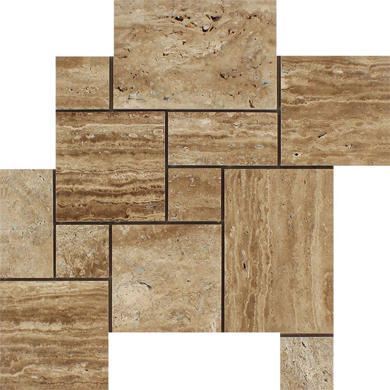 Noce Exotic (Vein-Cut) Unfilled, Polished Travertine OPUS Mini Pattern Mosaic Tile (Interlocking) - Tilephile