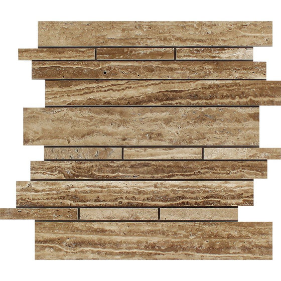 Noce Exotic (Vein-Cut) Unfilled, Polished Travertine Random Strip Mosaic Tile - Tilephile