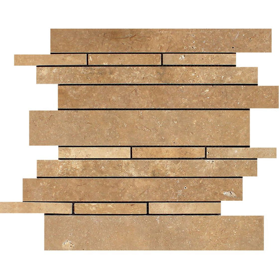 Noce Honed Travertine Random Strip Mosaic Tile - Tilephile