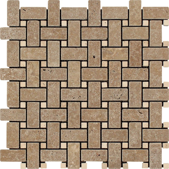 Noce Tumbled Travertine Basketweave Mosaic Tile w/ Ivory Dots - Tilephile