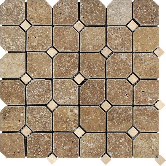 Noce Tumbled Travertine Octagon Mosaic Tile w/ Ivory Dots - Tilephile